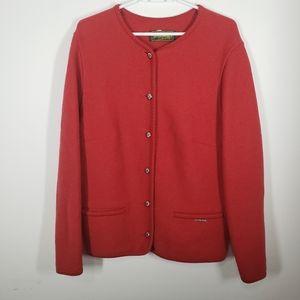 Vintage orange red boiled wool sweater size XL